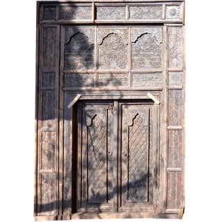 Mid 19th Century Wooden Carved Large Door For Sale
