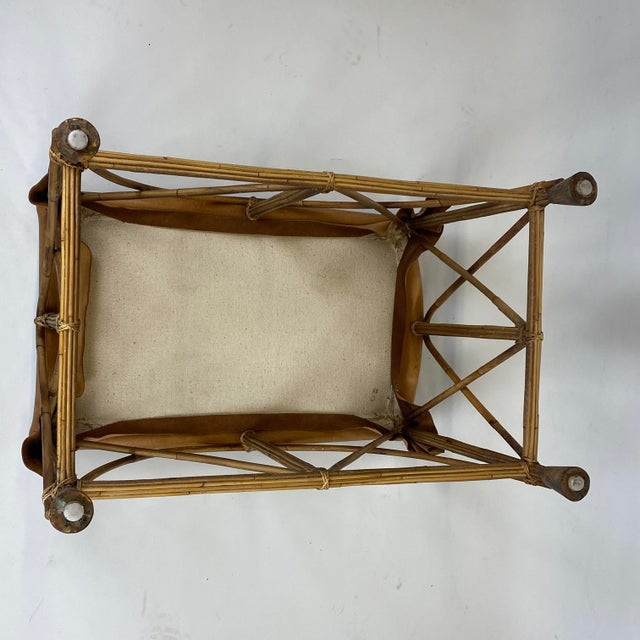 Wood Late 20th Century Rattan Stool With Soft Leather Seat For Sale - Image 7 of 12