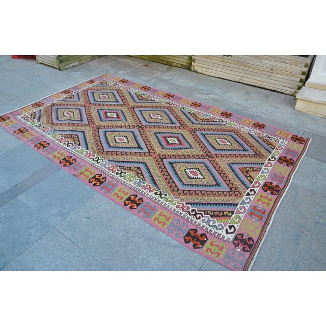 "Vintage Turkish Kilim Rug - 4'11"" X 8'2"" - Image 4 of 6"