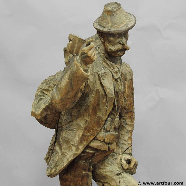 Wood A Large Unfinished Black Forest Poacher With Ibex Carving For Sale - Image 7 of 12