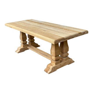 Antique Stripped Oak French Dining Table For Sale