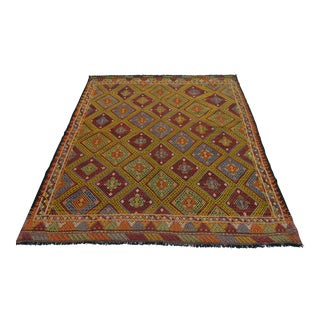 Turkish Hand Woven Braided Rug - 5′5″ × 6′4″ For Sale