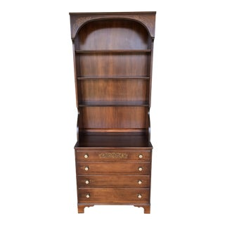 L. Hitchcock Maple Harvest 4-Drawer Chest with Hutch Top For Sale