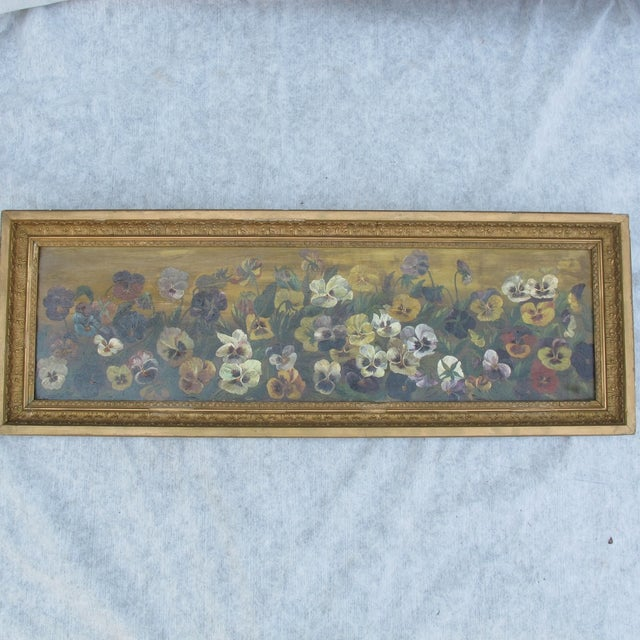 Framed Pansies Oil Painting - Image 5 of 10
