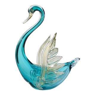 Barbini Murano Vintage Sommerso Aqua Blue Gold Flecks Italian Art Glass Mid Century Swan Sculpture For Sale