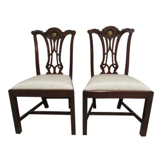 Maitland Smith Chippendale Pierce Carved A Dining / Side Chairs - a Pair For Sale