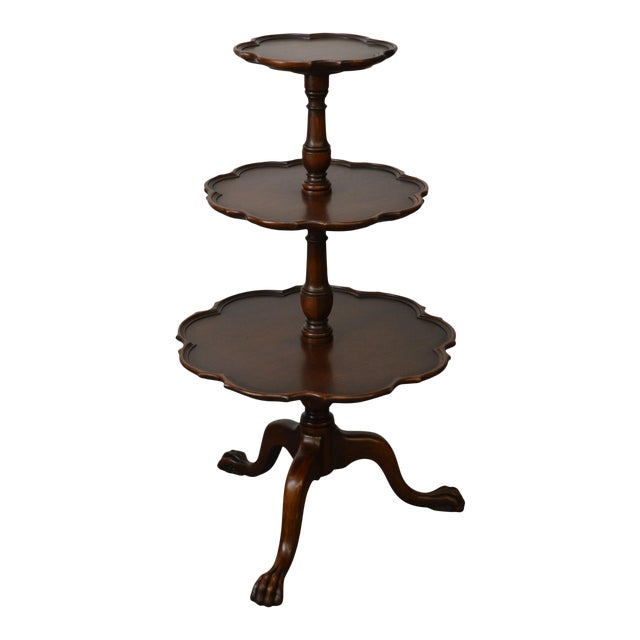 Vintage Mahogany Chippendale Style Claw Foot 3 Tier Dumbwaiter Table For Sale
