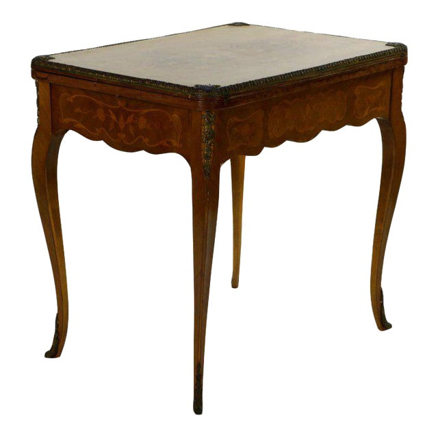 19th Century French Louis XVI Style Marquetry Game Table For Sale