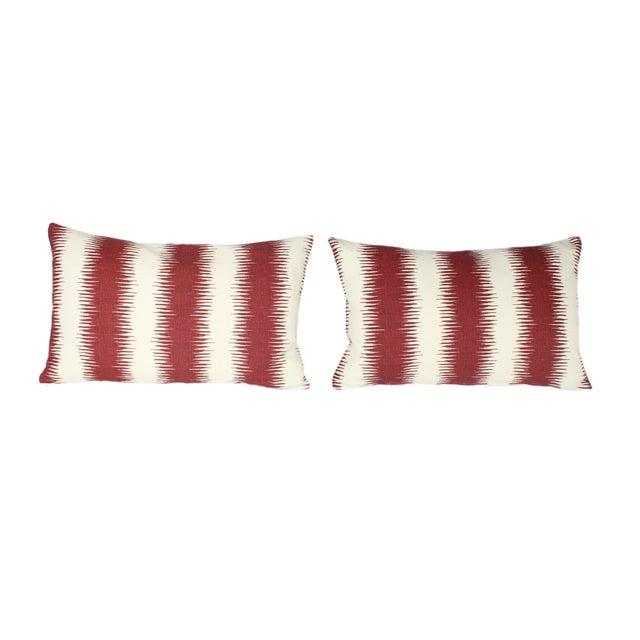 "Custom-made lumbar pillows in Peter Dunham's Hollywood At Home 100% linen Ikat fabric in his ""Pasha"" color way. Down &..."