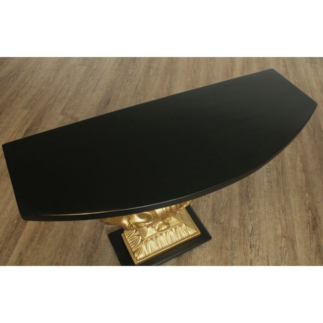 Black Grosfeld House Hollywood Regency Vintage Black and Gold Shell Consoles - a Pair For Sale - Image 8 of 13