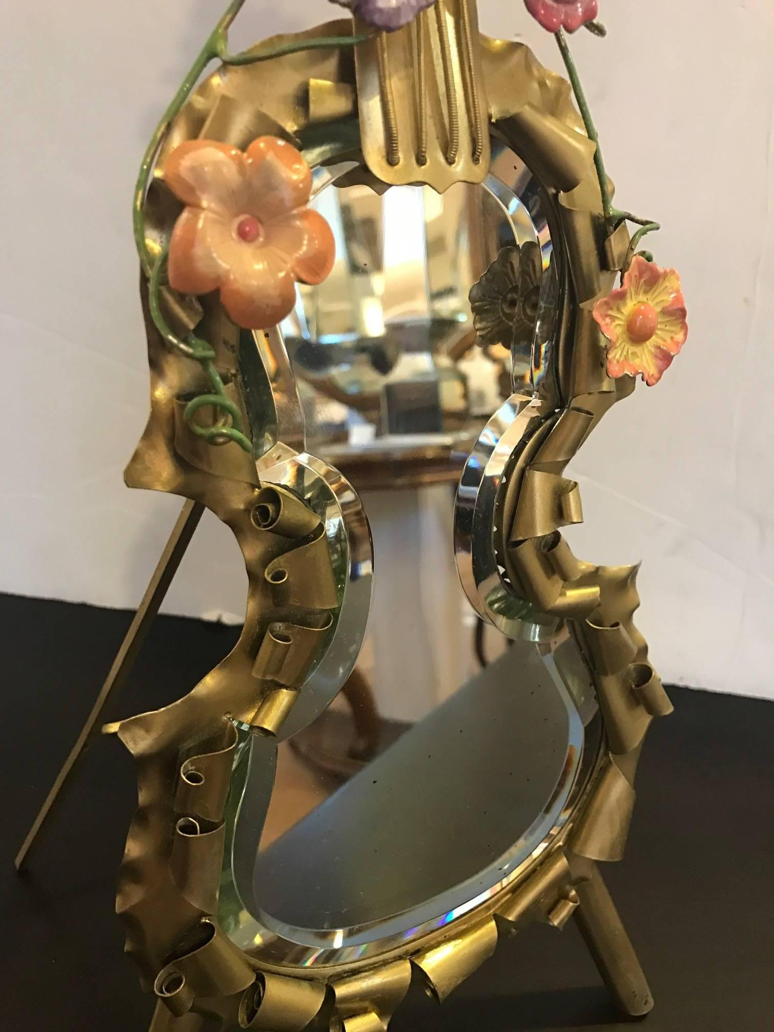 Whimsical Violin Motif Standing Mirror. The Handmade Frame With Gilt Brass  Covered In Hand