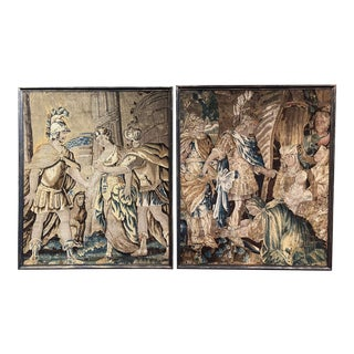 Pair of Mid-18th Century French Handwoven Aubusson Tapestries in Carved Frames For Sale