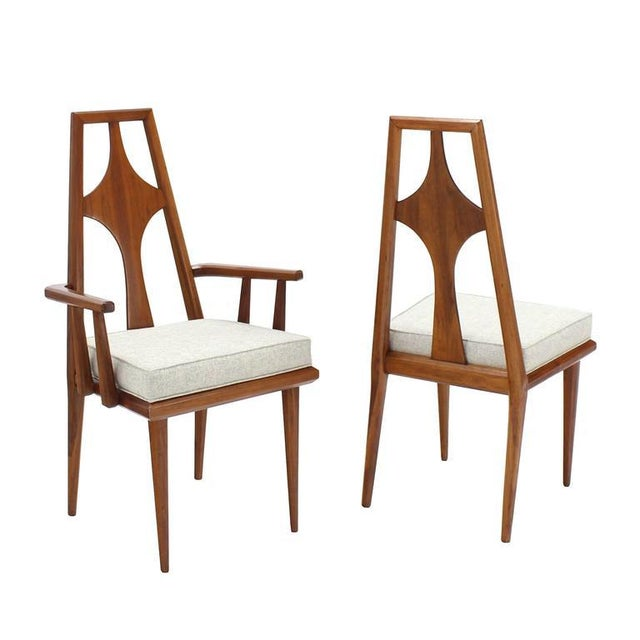 New upholstery Mid Century Swedish modern set of six dining room chairs by Edmund Spence.