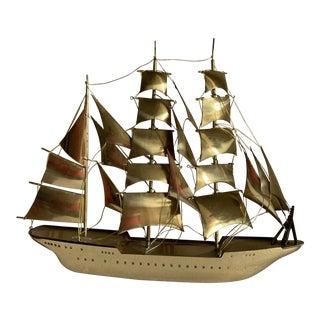 Vintage Sculpted Gold Metal Brutalist Sailboat For Sale