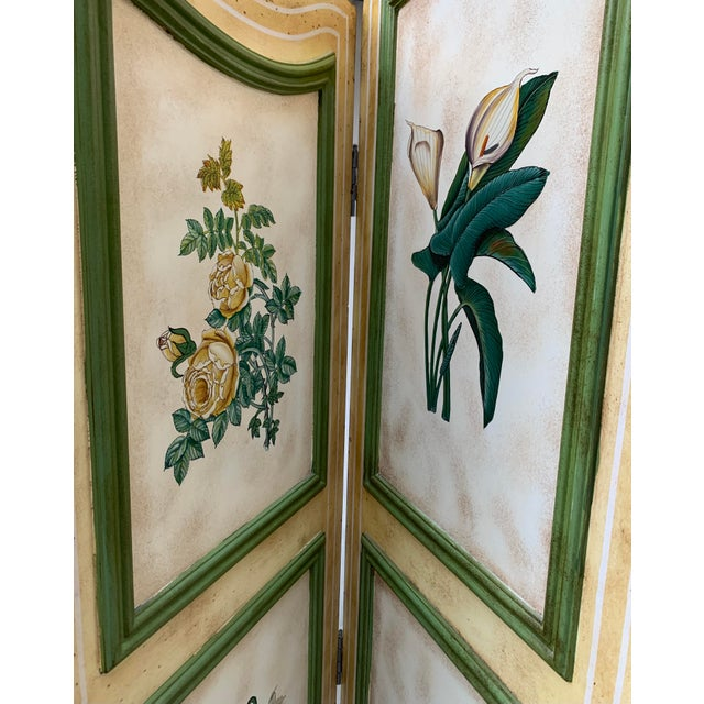 Wood Vintage Early 20th Century French Hand-Painted Floral Botanical Wood Screen For Sale - Image 7 of 12
