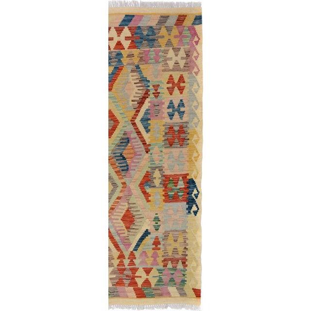 Arya Edmond Beige/Blue Wool Kilim Rug - 3'3 X 4'11 A9216 For Sale In New York - Image 6 of 7