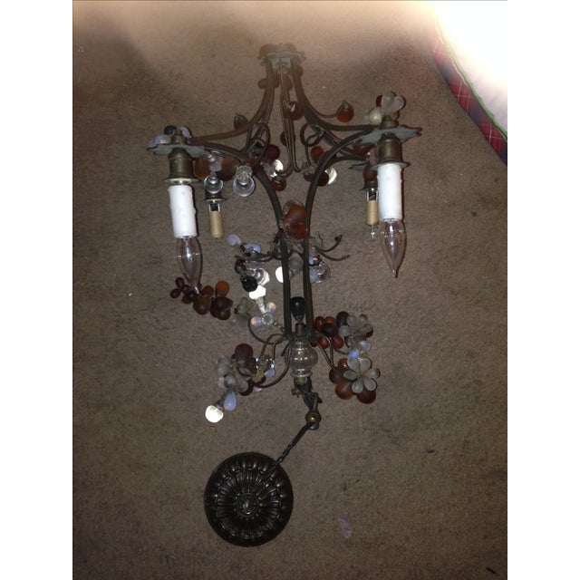 Antique Brass Finish Chandelier with Glass Grapes - Image 3 of 5