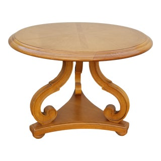 Vintage French Country Oak Round Three Legs Scrolled Coffee Table For Sale