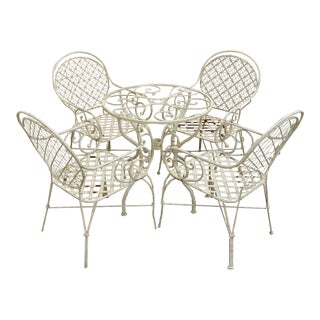 Scroll Arm Wrought Iron Patio Bistro Dining Set Table & Lattice Seat Chairs - Set of 5 For Sale