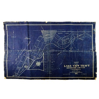 Antique Blue Print Map of Southern California