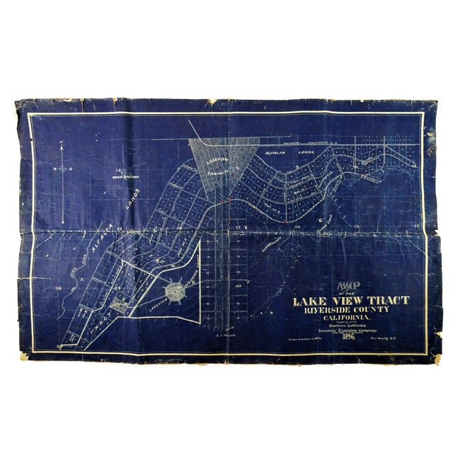 Antique Blue Print Map of Southern California For Sale