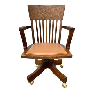 Vintage Oak Desk Chair on Casters For Sale