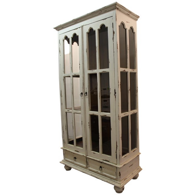 French Country White Distressed Pie Safe Cabinet - Image 1 of 11