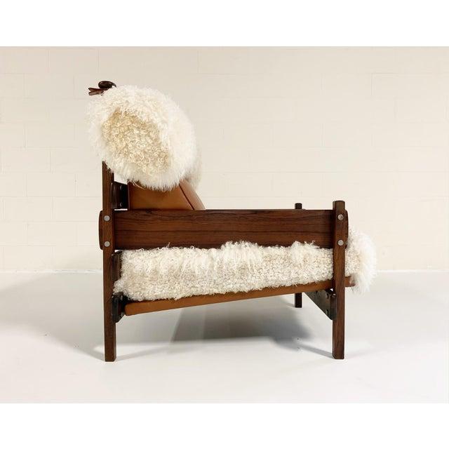 Sergio Rodrigues for Oca Solid Jacaranda Tonico Chair Restored in Gotland Sheepskin and Loro Piana Italian Buffalo Leather For Sale - Image 9 of 13