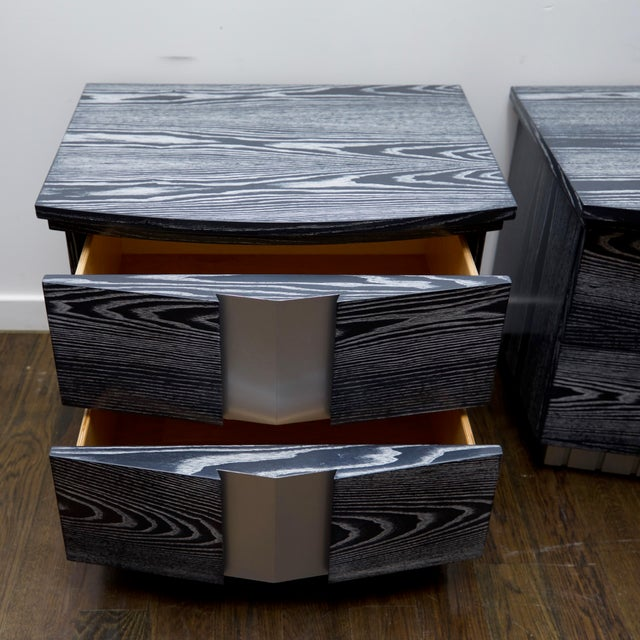 Heavy, well-constructed set of oak, two-drawer end table/night tables that have been updated in a beautiful grey and white...