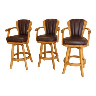Mikhail Darafeev Leather Barstools - Set of 3 For Sale