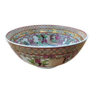 Large Porcelain Chinese Rose Medallion Bowl For Sale