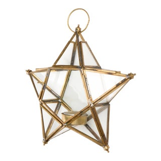 1950's Vintage Danish Art Deco Hanging 5-Point Glass Star Candle Holder For Sale