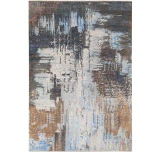 Modern Gray Indian Handmade Abstract Wool and Silk Rug For Sale