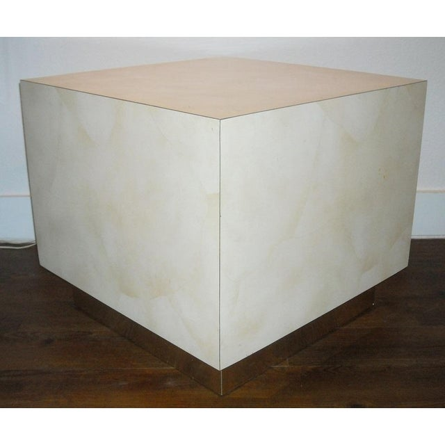 Mid Century Cube End Table Baughman Style - Pair - Image 2 of 4