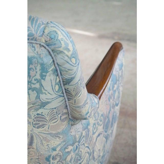 Brass Danish Midcentury Sofa With Teak Armrests For Sale - Image 7 of 10
