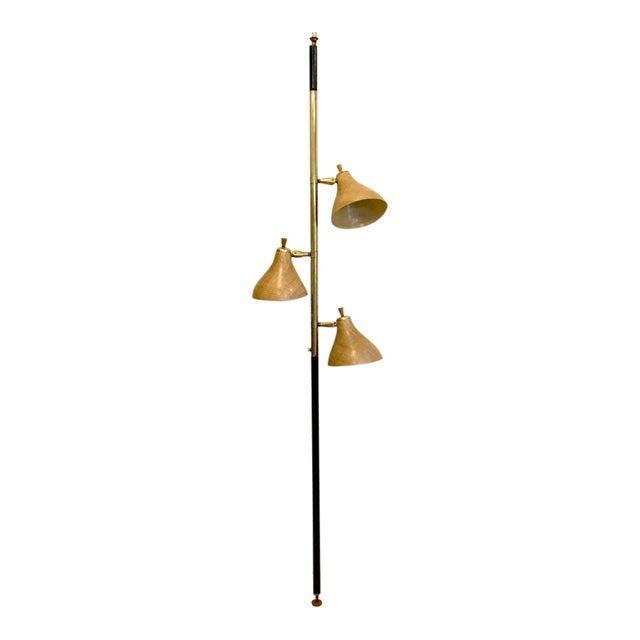 Mid-Century Modern Spring Loaded 3-Globe Floor Lamp For Sale
