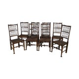 Image of Antique English Country Lancashire Set 8 Oak Spindle Back Rush Seat Farmhouse Dining Chairs For Sale