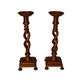 Tall Brass Candle Holders - Pair For Sale