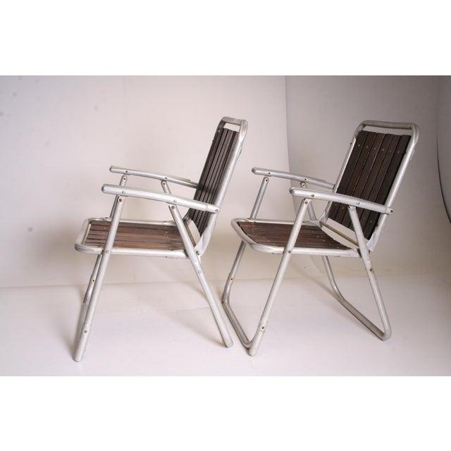 Vintage Redwood & Aluminum Folding Rocking Chairs - Set of 4 - Image 9 of 11