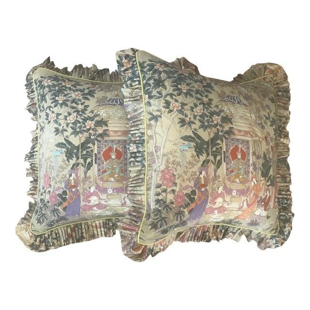 Custom Cowtan and Tout Print Euro Shams - a Pair For Sale