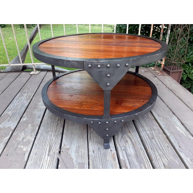 Industrial Farmhouse Round 2 Tier Reclaimed Chestnut Wood & Steel Coffee Table For Sale - Image 9 of 13