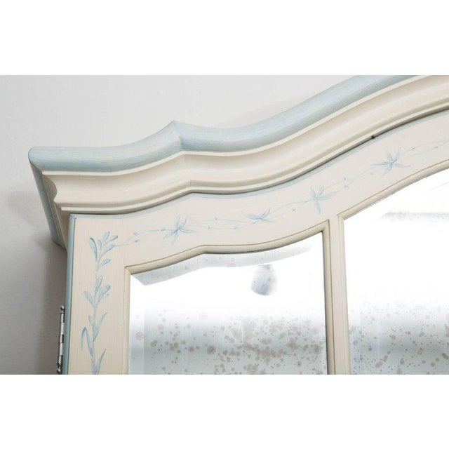 Glass Custom Hand-Painted Secretary Desk with Mirrored Doors For Sale - Image 7 of 10