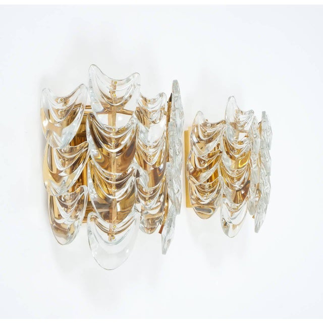 Beautiful pair of gilded brass and glass sconces by Palwa from the 1960s. They are in excellent condition and have been...