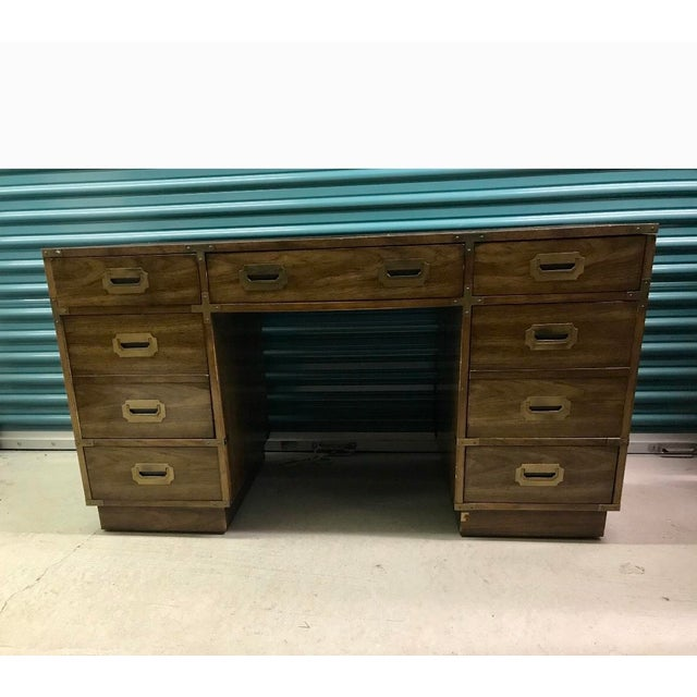 Brown Bernhardt Campaign Executive Desk For Sale - Image 8 of 8