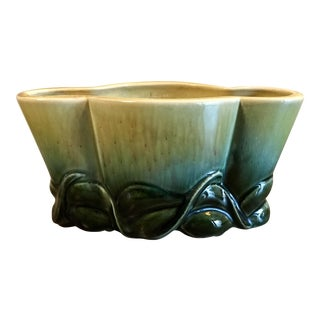Vintage Mid Century Drip Glaze Ceramic Pottery Planter For Sale