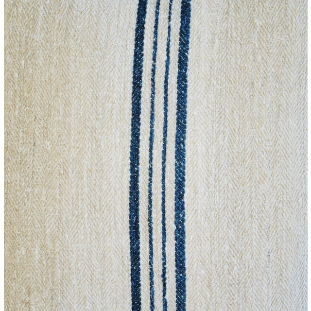 Blue Striped French Grain Sack Pillows - A Pair - Image 5 of 11