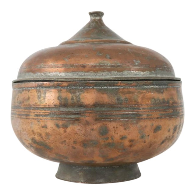 Image of Antique Turkish Copper Medium Sized Footed Bowl With Lid Hand Forged Incised Tinned