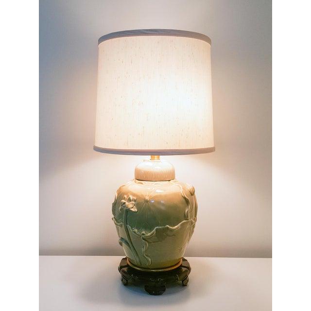 Vintage Marbro Asian Celadon Green Lotus Pottery Lamp Chairish