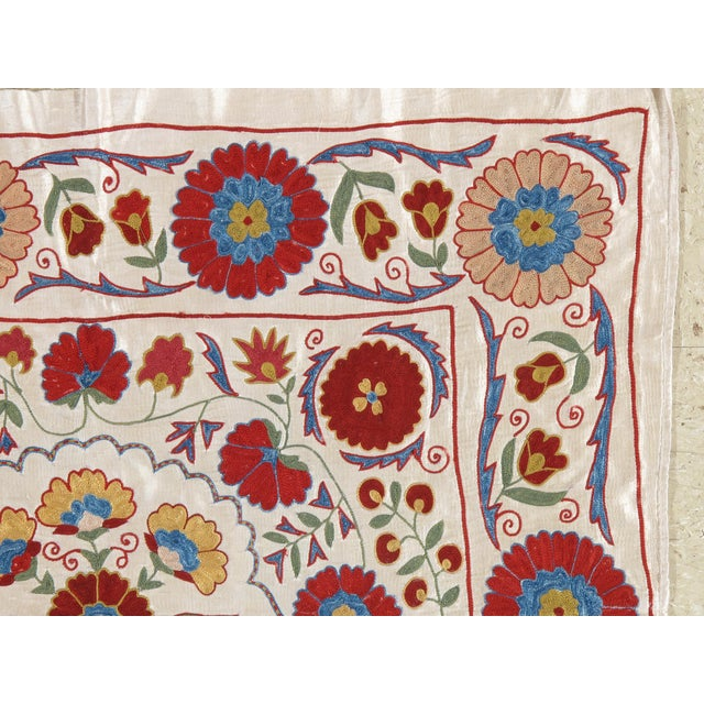Asian 20th Century Asian Suzani Textile Rug - 3′3″ × 3′4″ For Sale - Image 3 of 9