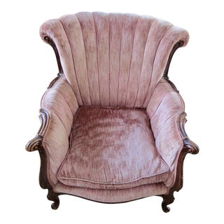 Carved Wood Pink Victorian Wingback Chair